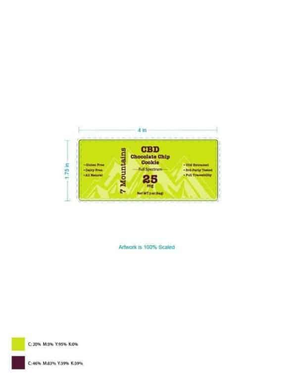 7 mountains cbd chocolate chip cookie label